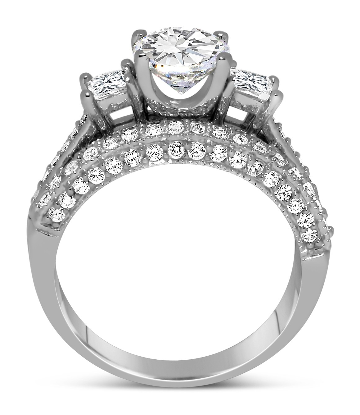 2 Carat Round and Princess Diamond Wedding Ring Set in White Gold