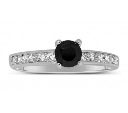1 Carat Unique Black and White Round Diamond Engagement Ring in White Gold