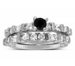 1 Carat Black and White Round Diamond Wedding Ring Set in White Gold