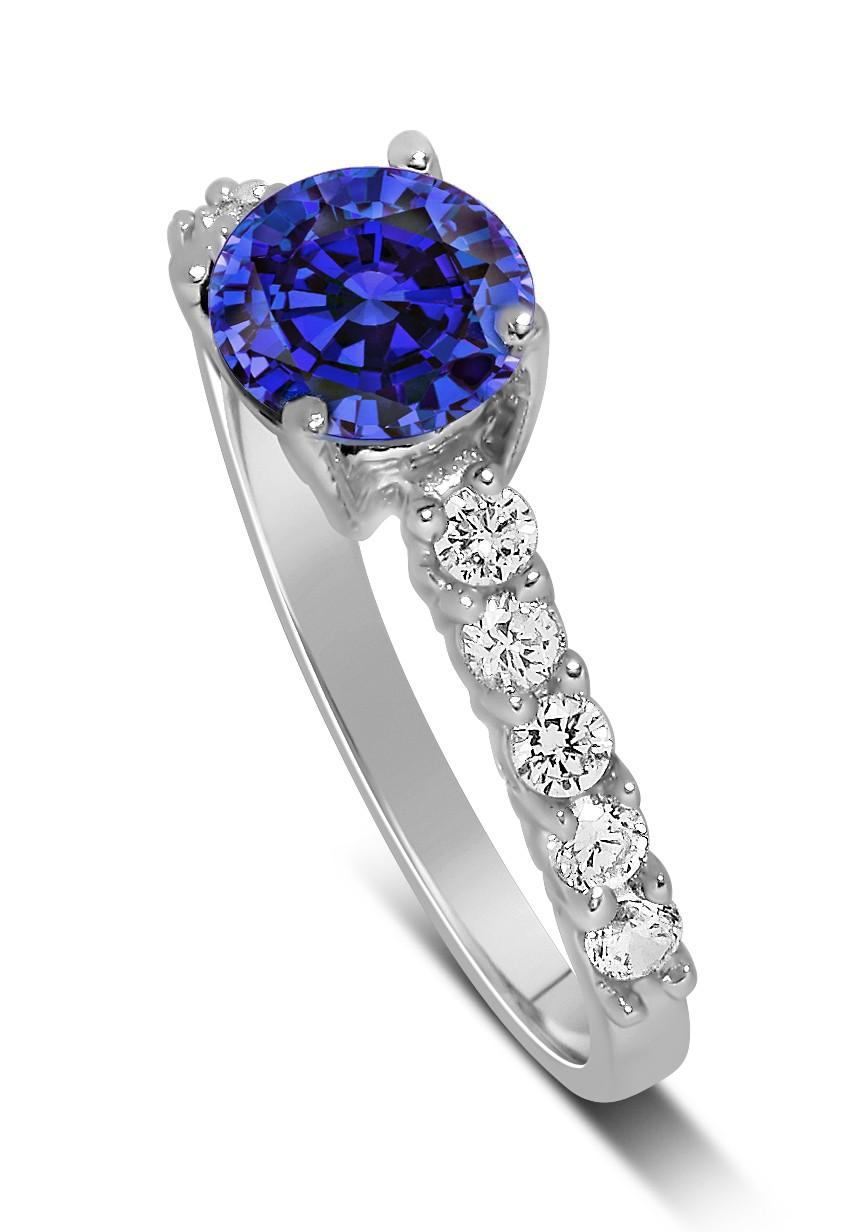 1 carat vintage round cut blue sapphire and diamond. Black Bedroom Furniture Sets. Home Design Ideas
