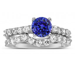 2 Carat Vintage Round cut Blue Sapphire and Diamond Wedding Ring Set in White Gold