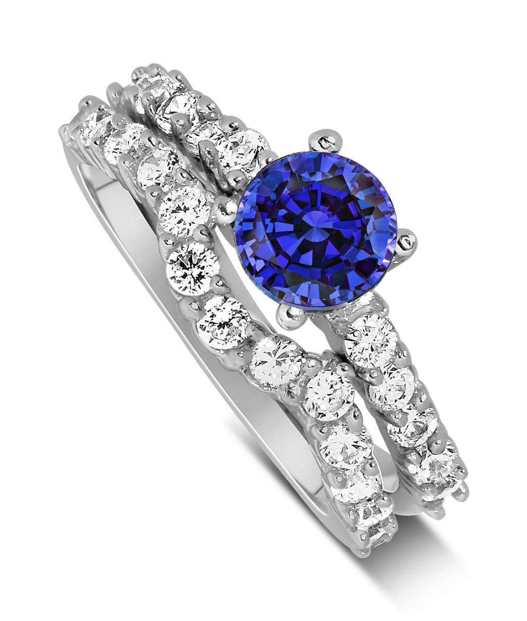 2 carat vintage round cut blue sapphire and diamond for Sapphire engagement ring and wedding band set