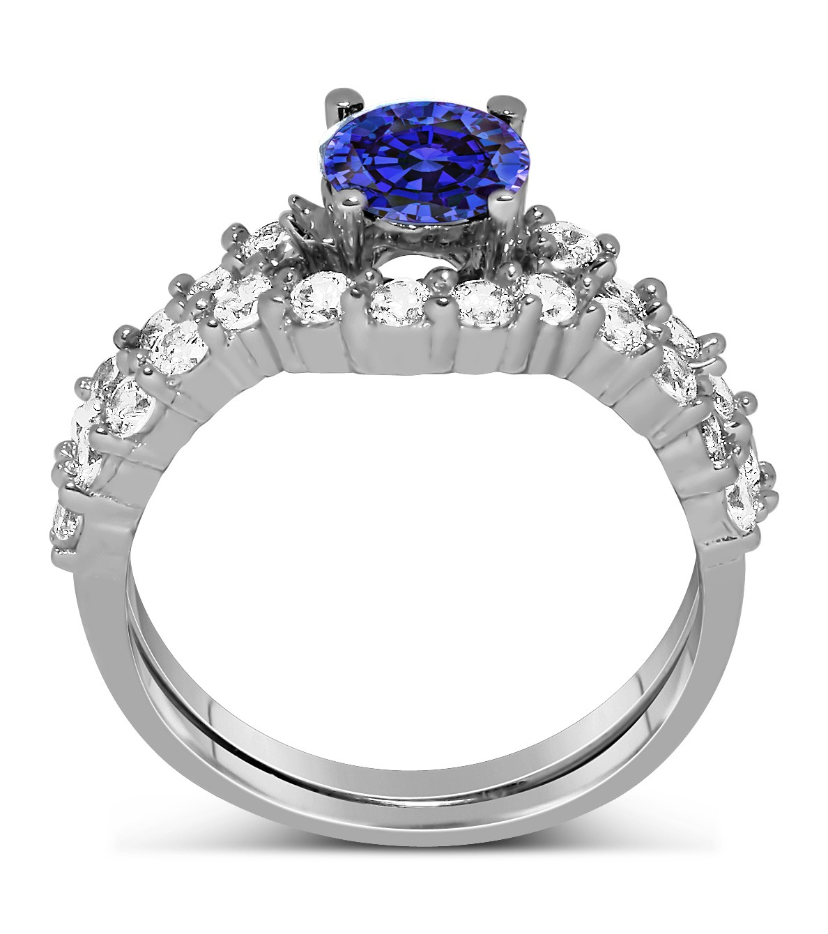 2 Carat Vintage Round cut Blue Sapphire and Diamond Wedding Ring Set in White