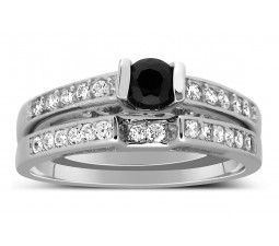 1 Carat Unique Black and White Round Diamond Wedding Ring Set in White Gold