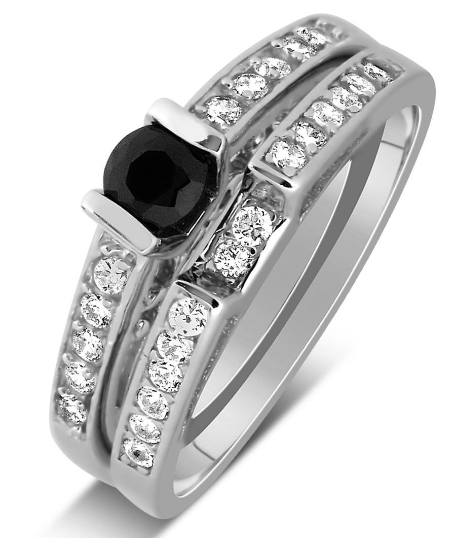 1 Carat Unique Black And White Round Diamond Wedding Ring Set In Gold