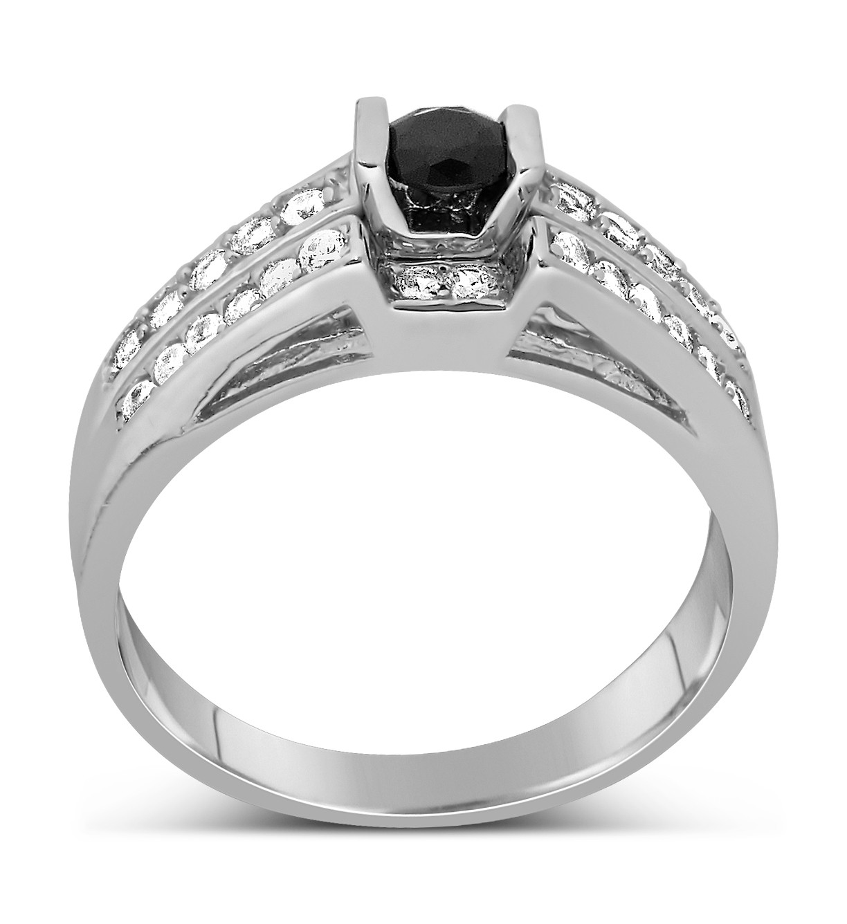 1 Carat Unique Black and White Round Diamond Wedding Ring Set in White Gold