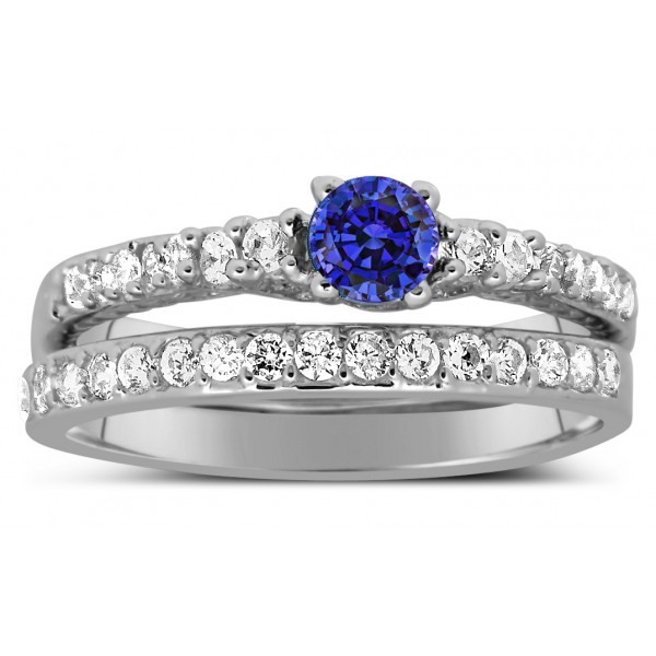 Sapphire Wedding Ring Sets Blue Sapphire And Diamond Wedding Ring Set In White Gold JeenJewels
