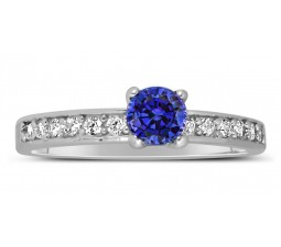 1 Carat Vintage Round cut Blue Sapphire and Diamond Engagement Ring in White Gold