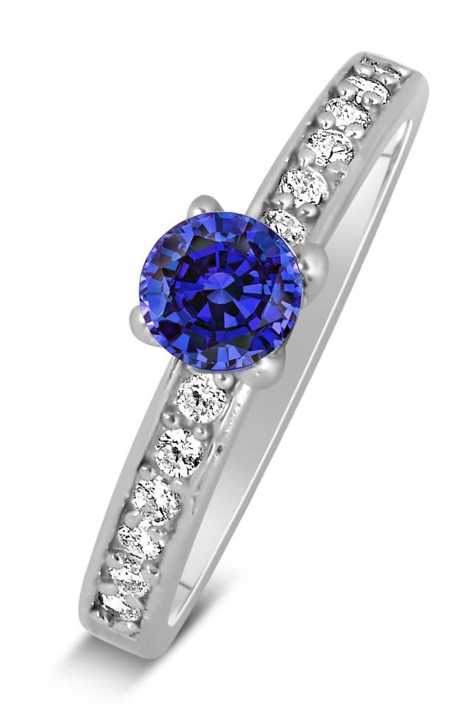 1 Carat Vintage Round Cut Blue Sapphire And Diamond