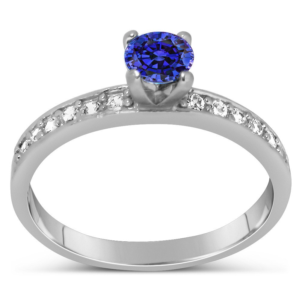 1 Carat Vintage Round Cut Blue Sapphire And Diamond