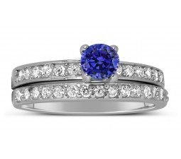1.50 Carat Vintage Round cut Blue Sapphire and Diamond Wedding Ring Set in White Gold