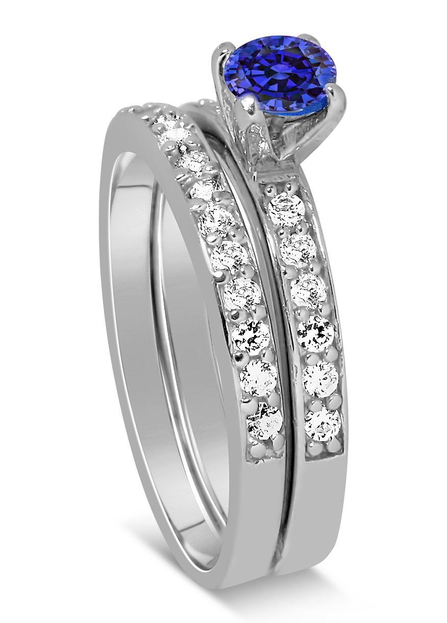 150 Carat Vintage Round Cut Blue Sapphire And Diamond Wedding Ring Set In White Gold