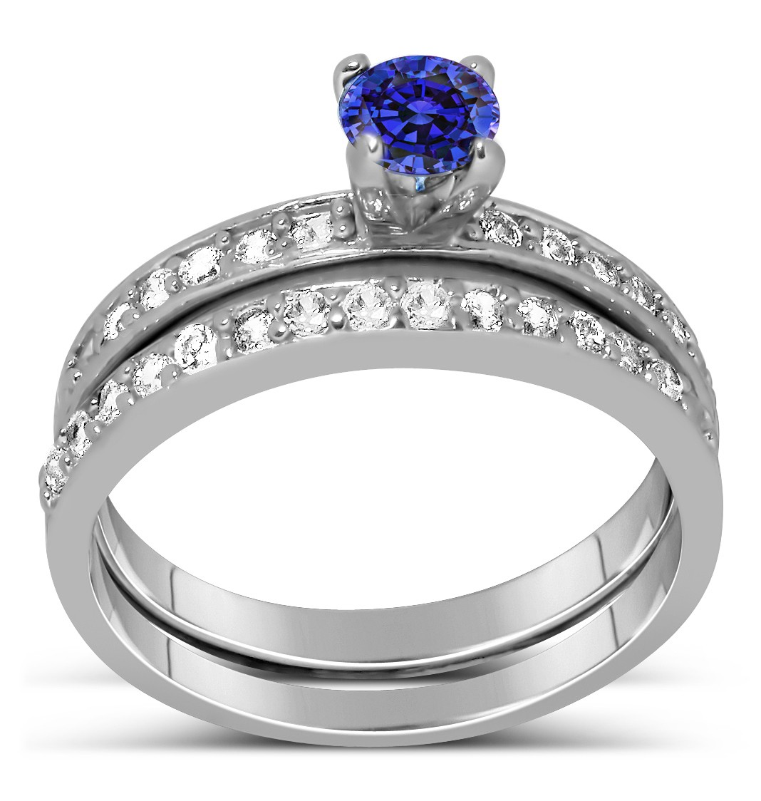 1 50 Carat Vintage Round cut Blue Sapphire and Diamond Wedding Ring Set in Wh
