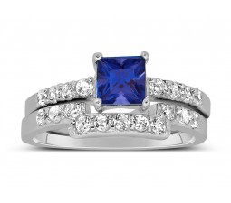 Luxurious 2 Carat Princess cut blue sapphire and White Diamond Wedding Ring Set