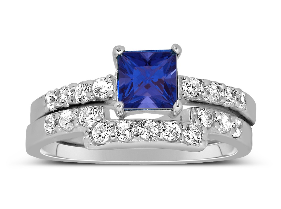 Luxurious 2 Carat Princess Cut Blue Sapphire And White Diamond Wedding Ring Set