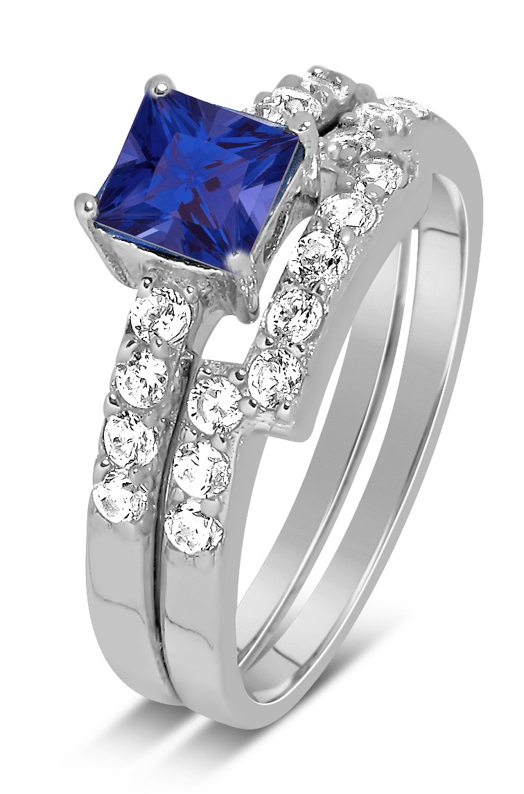 Luxurious 2 Carat Princess cut blue sapphire and White Diamond Wedding Ring S