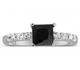 Luxurious 1 Carat Princess cut Black and White Diamond Engagement Ring