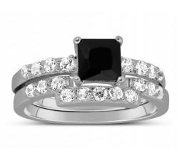 Luxurious 1.50 Carat Princess cut Black and White Diamond Wedding Ring Set
