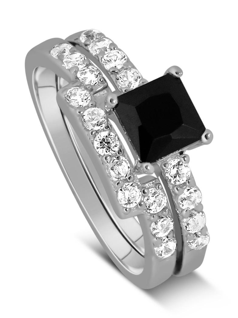 Luxurious 1 50 Carat Princess cut Black and White Diamond Wedding Ring Set