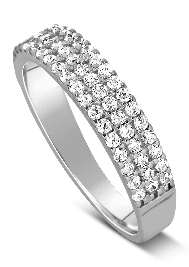 unique 3 row 1 carat round diamond wedding ring band in white gold - Three Band Wedding Ring
