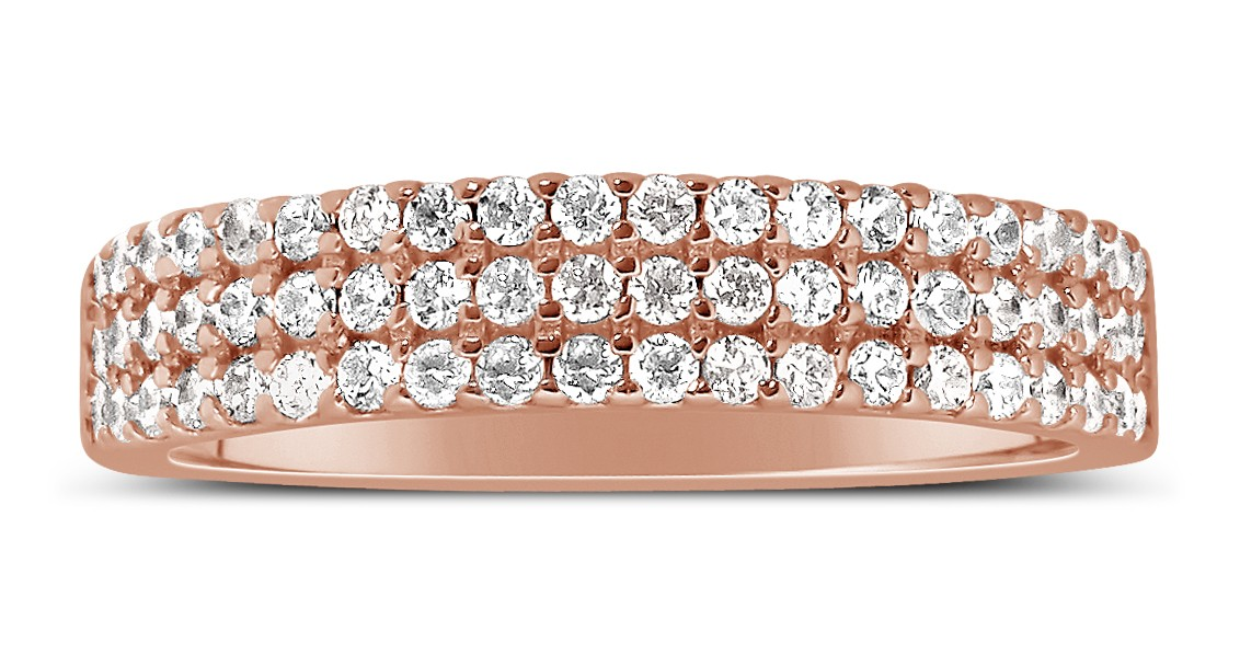 Unique 3 Row 1 Carat Round Diamond Wedding Ring Band In Rose Gold