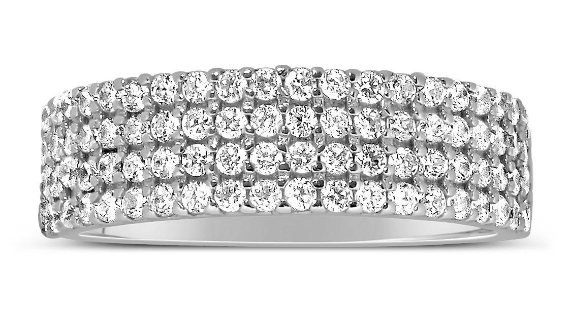 1 Carat 4 Row Diamond Wedding Ring Band For Her In White Gold