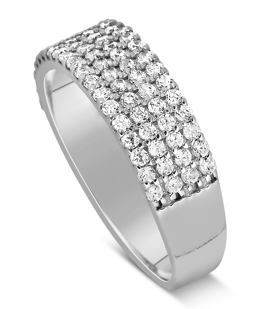 ... 1 Carat 4 Row Diamond Wedding Ring Band For Her In White Gold ...