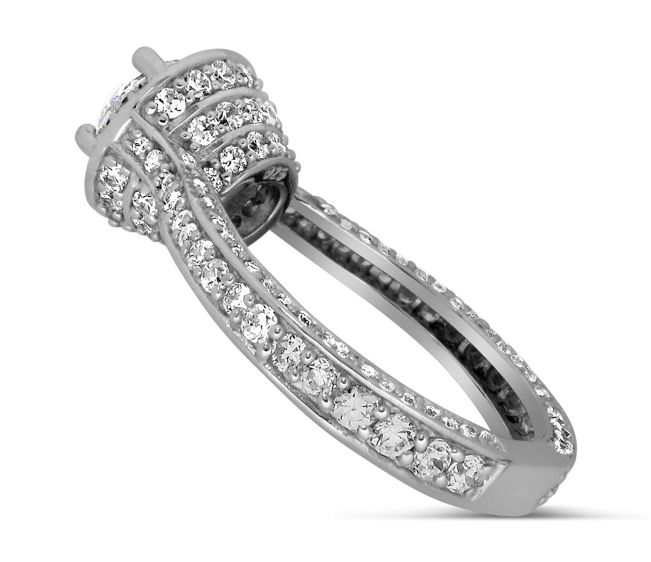designer 1 carat round halo diamond engagement ring for women in white gold jeenjewels. Black Bedroom Furniture Sets. Home Design Ideas