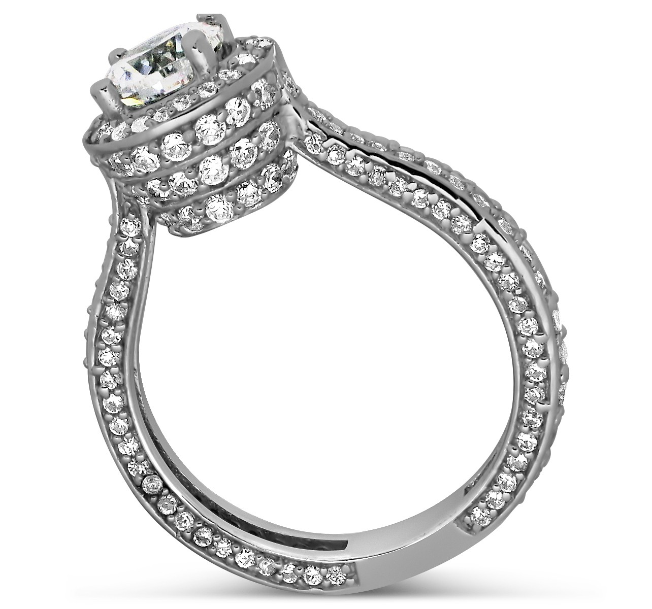 Designer 1 Carat Round Halo Diamond Engagement Ring for Women in