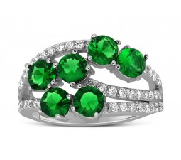 Unique 2 Carat Green Emerald and Diamond Ring for Women