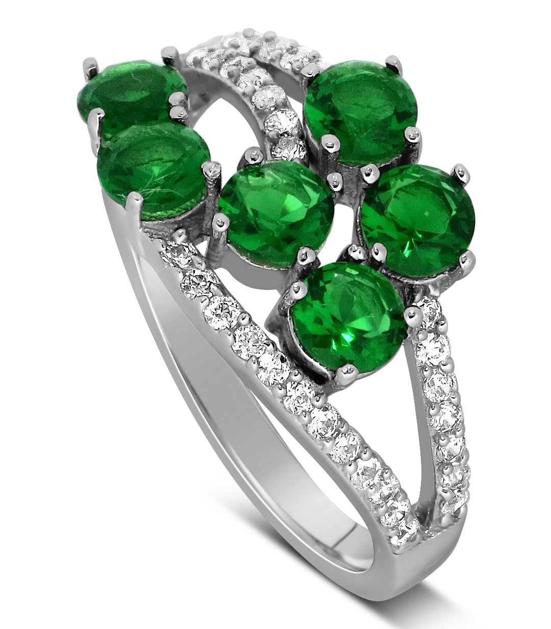 Unique 2 Carat Green Emerald and Diamond Ring for Women JeenJewels