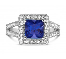 Designer 2 Carat Princess cut Blue Sapphire and Diamond Halo Engagement Ring in White Gold