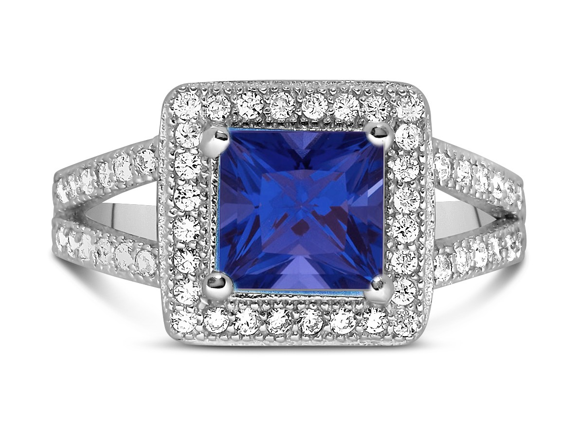 halo ring blue sapphire princess cut halo ring