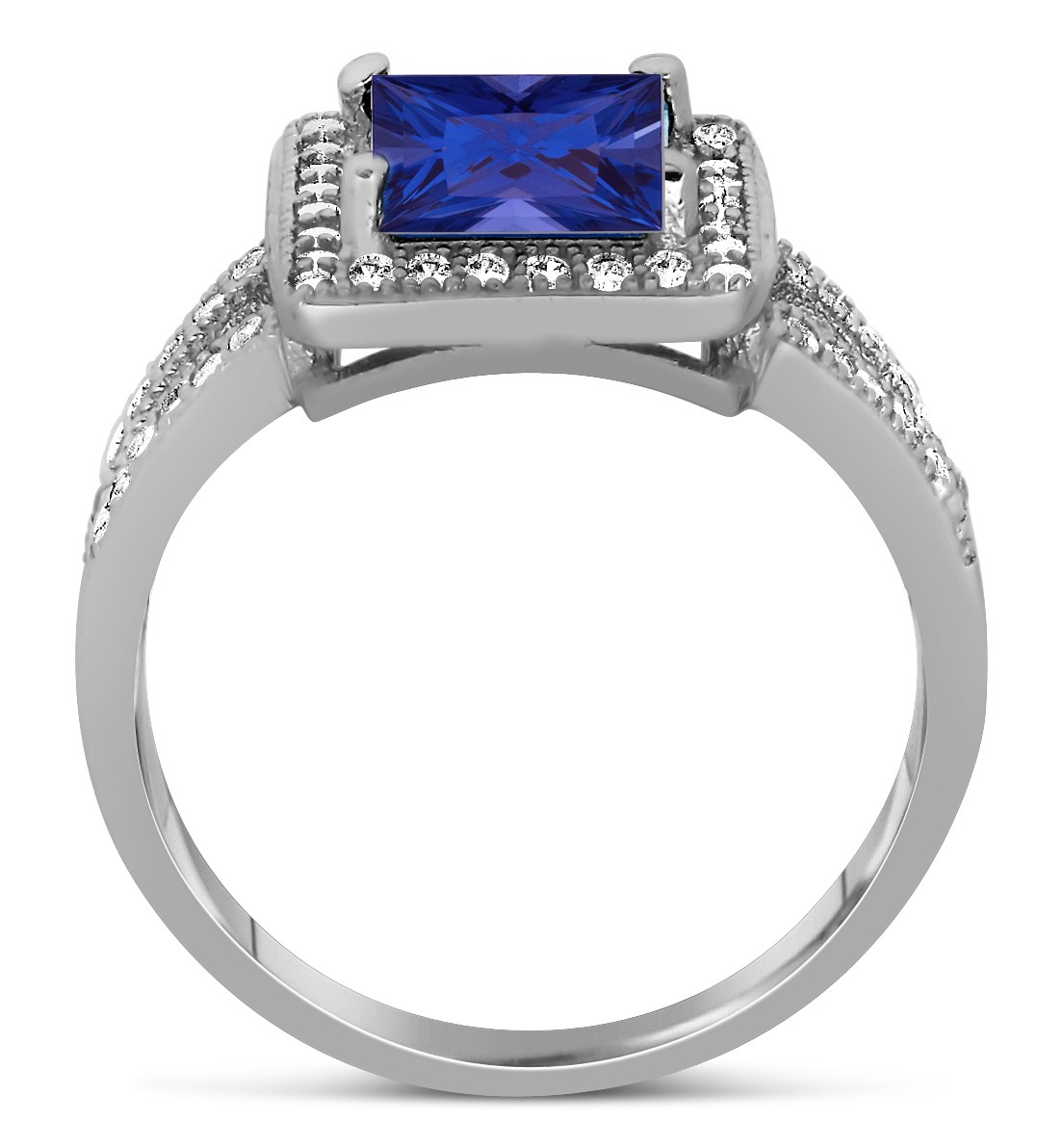 designer 2 carat princess cut blue sapphire and