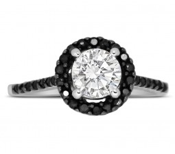 Perfect Half Carat Black and White Round Diamond Halo Engagement Ring in White Gold