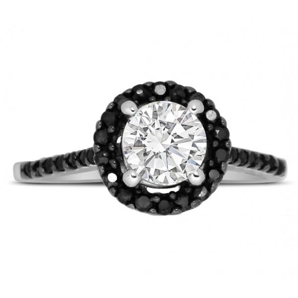 perfect half carat black and white round diamond halo