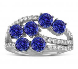 Unique 2 Carat blue Sapphire and Diamond Ring for Women
