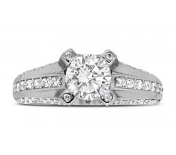 Perfect 1 Carat Unique Round Diamond Engagement Ring White Gold