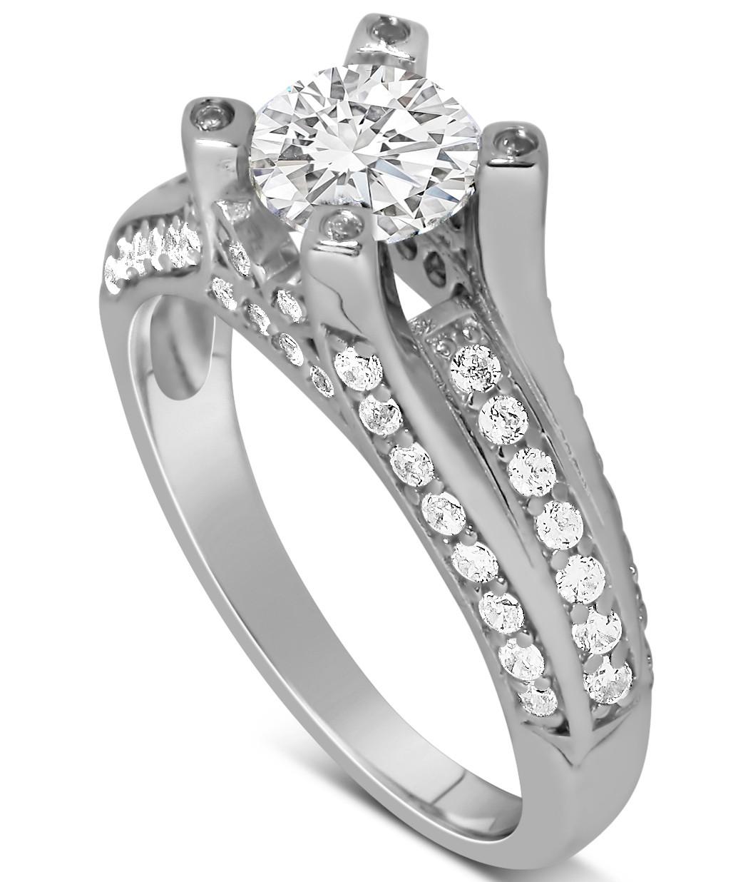 Perfect 1 Carat Unique Round Diamond Engagement Ring White