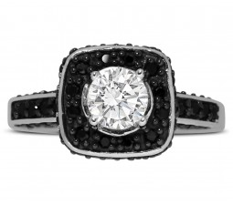 1 Carat Round White and Black Diamond Halo Engagement Ring in White Gold
