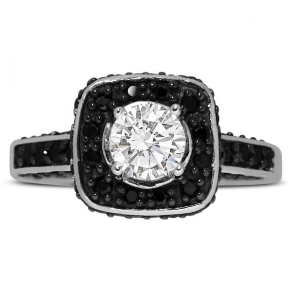 1 carat round white and black diamond halo engagement ring