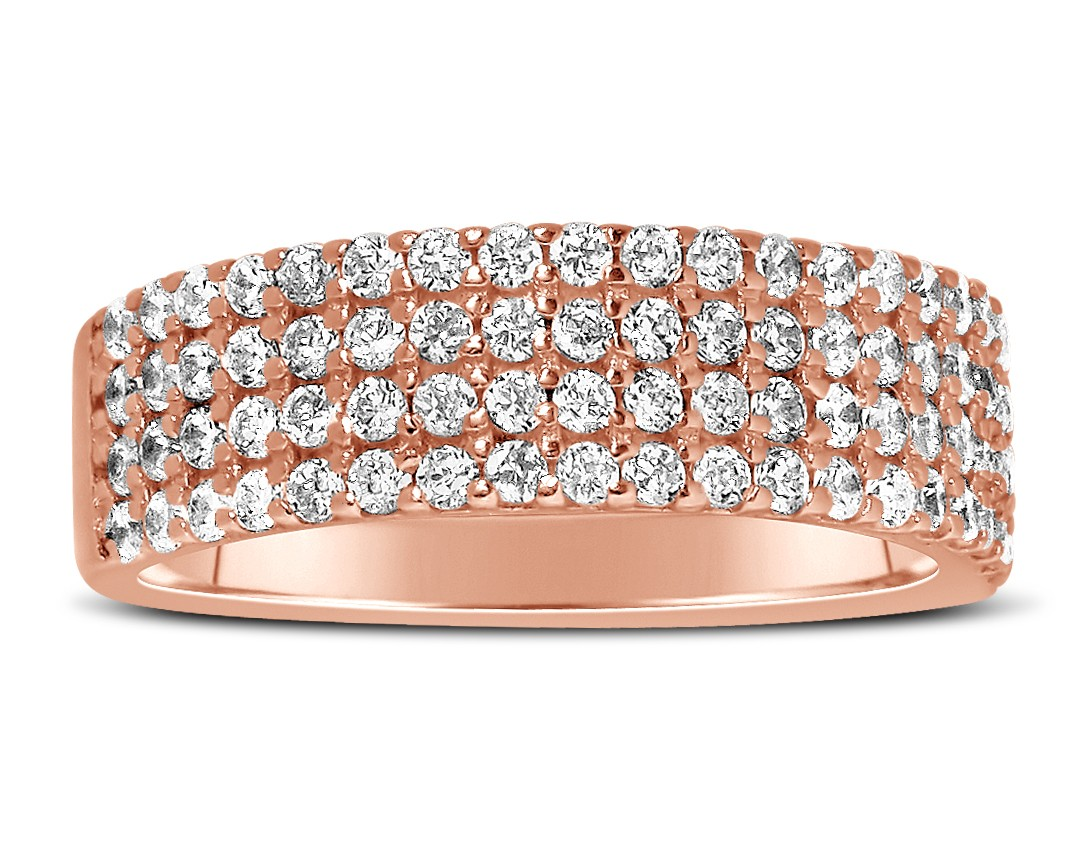 unique 4 row 1 carat round diamond wedding ring band in rose gold
