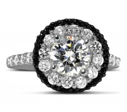 Luxurious 1 Carat Black and White Round Diamond Halo Engagement Ring in White Gold