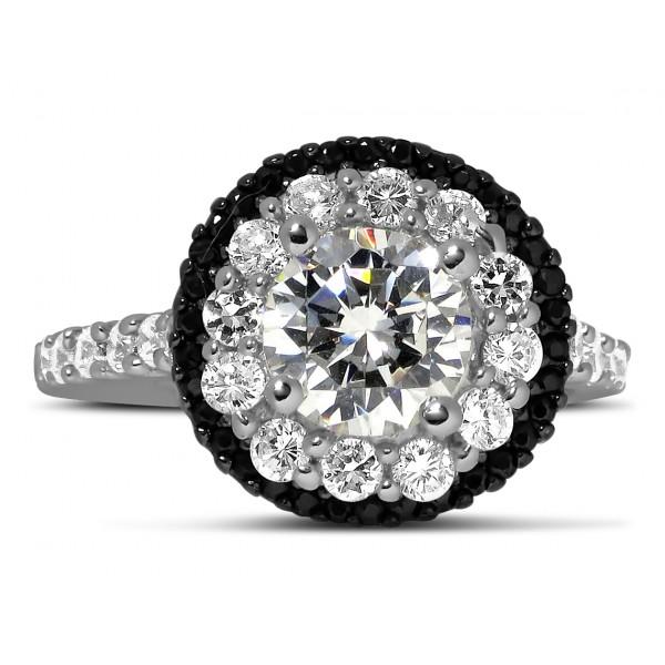 luxurious 1 carat black and white round diamond halo