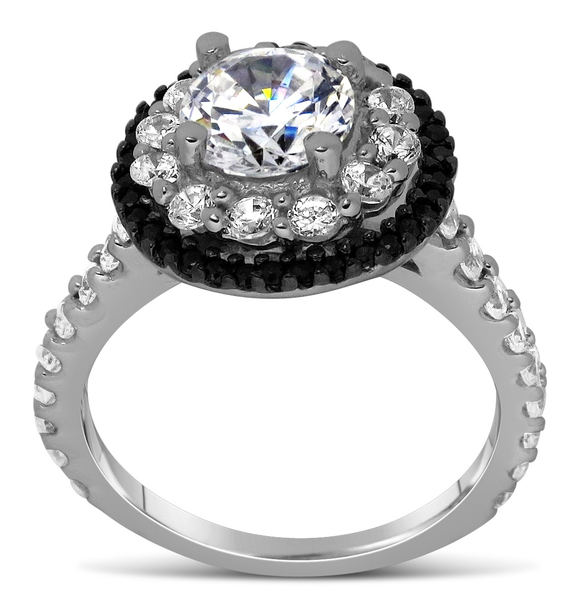 Luxurious 1 Carat Black and White Round Diamond Halo Engagement Ring in White