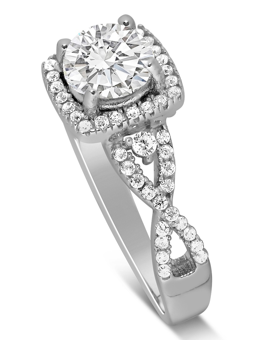 Unique 1 Carat Round Infinity Halo Diamond Engagement Ring In White  Gold