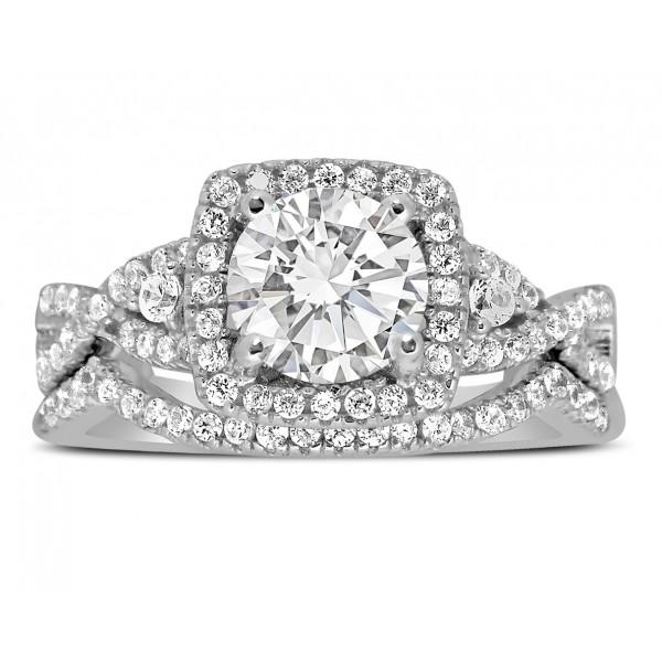 2 Carat Infinity design Round Wedding Ring Set in White Gold