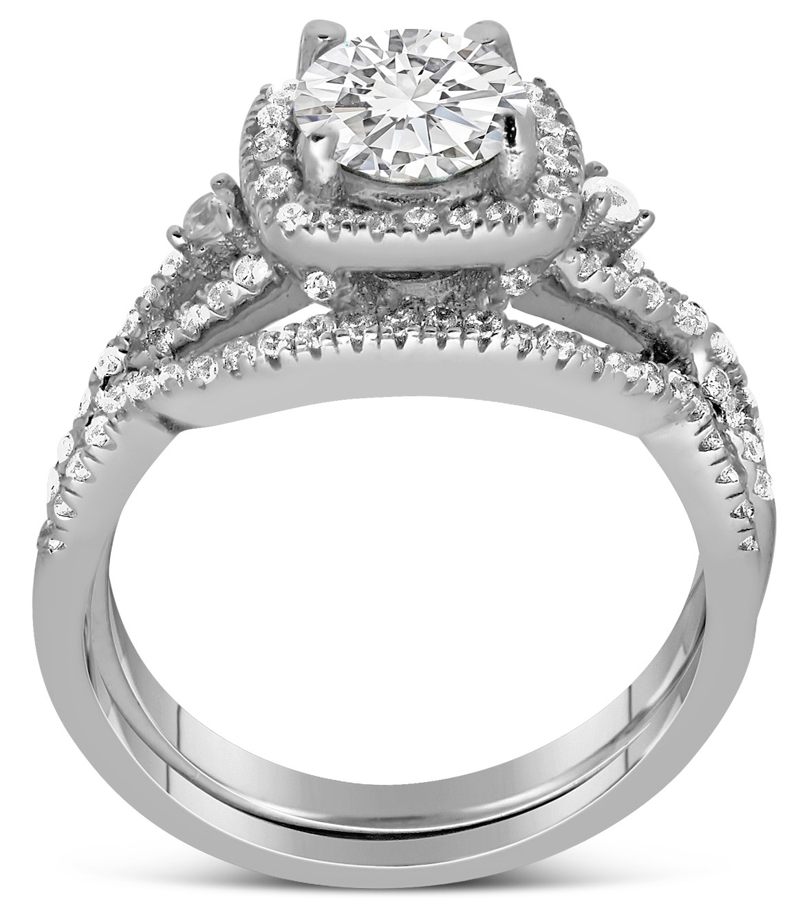 ... 2 Carat Infinity Design Round Wedding Ring Set In White Gold
