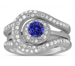 Unique and Luxurious, 2 Carat Designer Sapphire and Diamond Wedding Ring Set in White Gold
