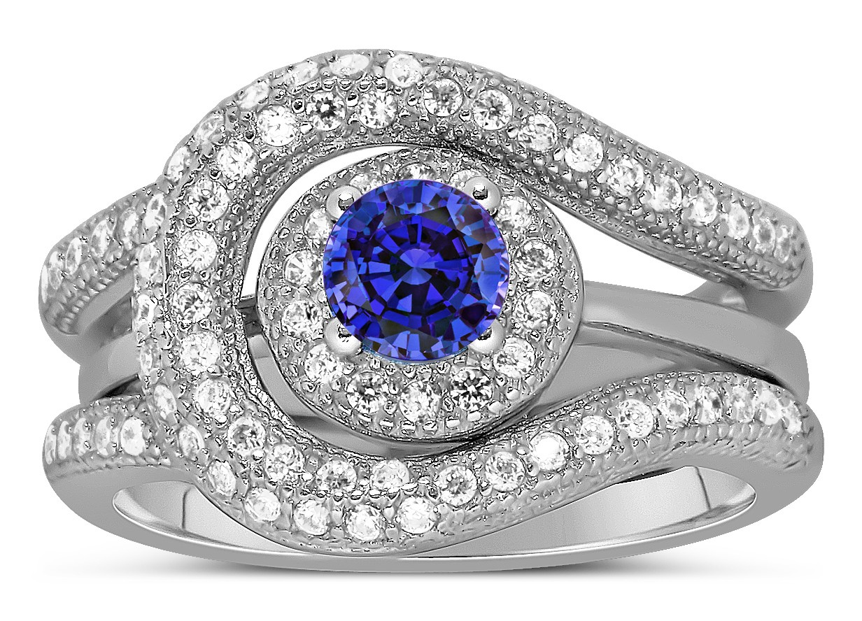 ring engagement sapphire wedding and rings his hers photo set cz blue matching couple medium itm titanium